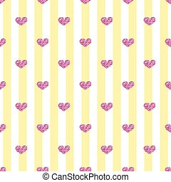 SEAMLESS PINK HEART GLITTER ON STRIPE BACKGROUND