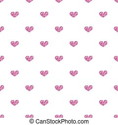 SEAMLESS PINK HEART GLITTER ON WHITE BACKGROUND