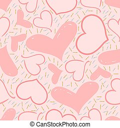 seamless pink heart with gold and silver glitter pattern background