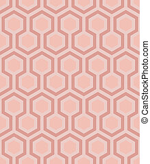 three shades of soft pink delineate an endless grid of hexagon layers