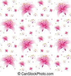 Seamless pink lily wallpaper
