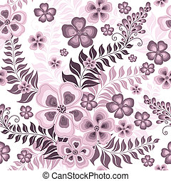 Seamless white and pink pattern with flowers, branches with leaves (vector)