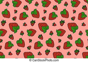 Seamless pink pattern with drawn red strawberries