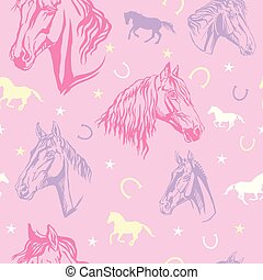 Seamless pink pattern with horses