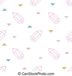 seamless pink pencil with colorful glitter pattern on white background
