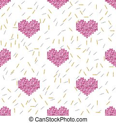 seamless pink pixel heart with silver and gold glitter pattern background.