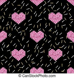 seamless pink pixel heart with silver and gold glitter pattern on black background