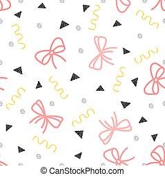 seamless pink ribbon with glitter confetti pattern background