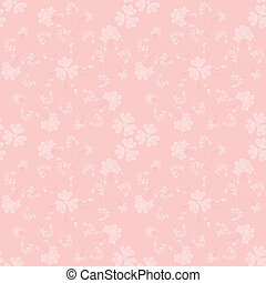 Seamless pink two-tone pattern with violets, swirl in a...