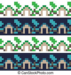 Seamless pixel art houses and trees