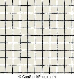 Seamless plaid pattern with hand drawn checks on white background