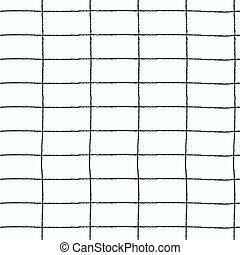 Seamless plaid pattern with hand drawn grid on white background