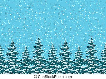 seamless, plano de fondo, árboles de navidad, con, nieve
