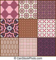 seamless, plano de fondo, colección, -, vendimia, azulejos, y, flores, -, para, diseño, y, álbum de recortes, -, en, vector