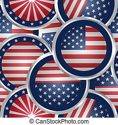 seamless, plano de fondo, con, bandera estadounidense, tela, botones