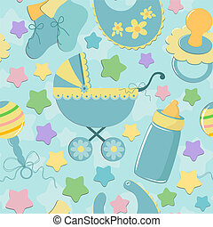 seamless, plano de fondo, con, bebé, objetos