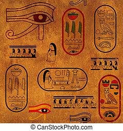 seamless, plano de fondo, con, egipcio, símbolos