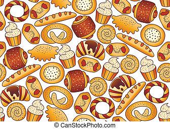 seamless, plano de fondo, con, panadería, profesional