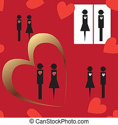 seamless, plano de fondo, con, resumen, pareja, y, corazones