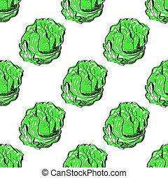 seamless, plano de fondo, con, verde, cabbage.