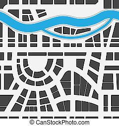 seamless, plano de fondo, de, mapa ciudad