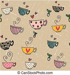 seamless, plano de fondo, garabato, mano, dibujo, conjunto, de, tazas de café, en, diferente, diseños, en, grunge, fondo marrón