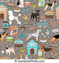 seamless, plano de fondo, perros, patrón