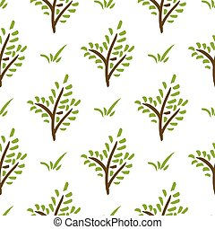 Seamless plant pattern. Hand drawn green branch