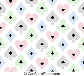 Seamless poker background with transparent effect on cards symbols