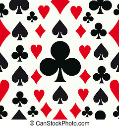 Seamless poker pattern background with card suits. Vector illustration layered for easy manipulation and custom coloring.