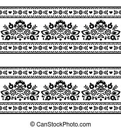 Seamless Polish black folk pattern - Repetitive background -...