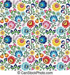 Repetitive background with flowers - Slavic folk art pattern