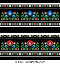 Seamless Polish folk art pattern - Repetitive cutout style...