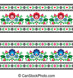 Repetitive colorful background - polish folk art decoration elements