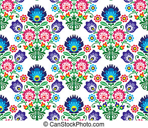 Seamless Polish, Slavic folk art - Repetitive background -...