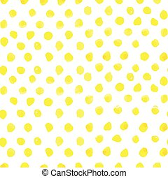 Seamless polka dot pattern from watercolor paint yellow circles. Vector illustration for your design