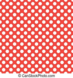 Seamless polka white dots on red