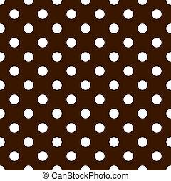 Seamless Polkadots, White on Brown