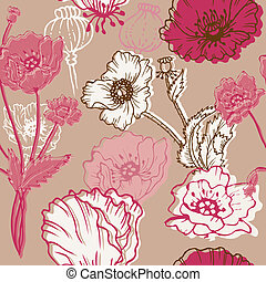 Seamless Poppy Background - for your design, scrapbook in...