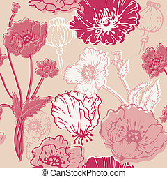 Seamless Poppy Background - for your design, scrapbook in vector