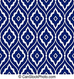 Persian ikat pattern - Seamless porcelain indigo blue and...
