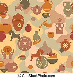 Seamless pottery pattern with vases and others ceramic. Clay horse, women, and other dishes.