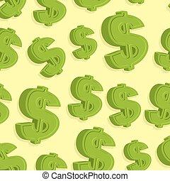 seamless., próbka, abstrakcyjny, dolar znaczą, tło., wektor