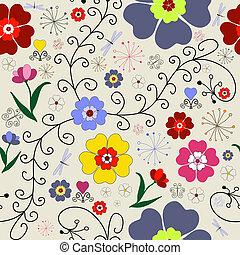seamless, próbka, kwiatowy