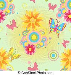 seamless, próbka, kwiaty, motyle