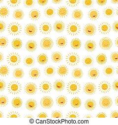 seamless, próbka, litera, rysunek, słońce