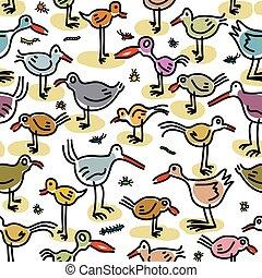 seamless, próbka, składając, od, wizerunki, od, ptaszki