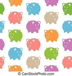 seamless, próbka, z, barwny, świnie