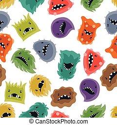seamless, próbka, z, mały, gniewny, viruses, i, monsters.