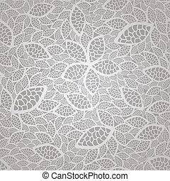 seamless, prata, renda, folhas, padrão